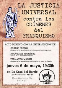 Cartel la justicia universal contra los crímenes del franquismo